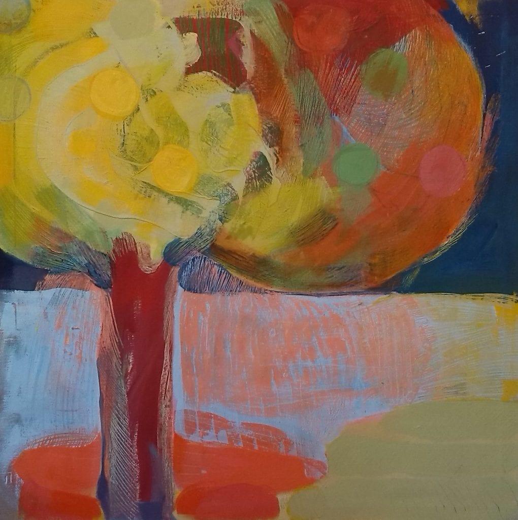 The first Garden, 100x100 cm egg tempera on canvas