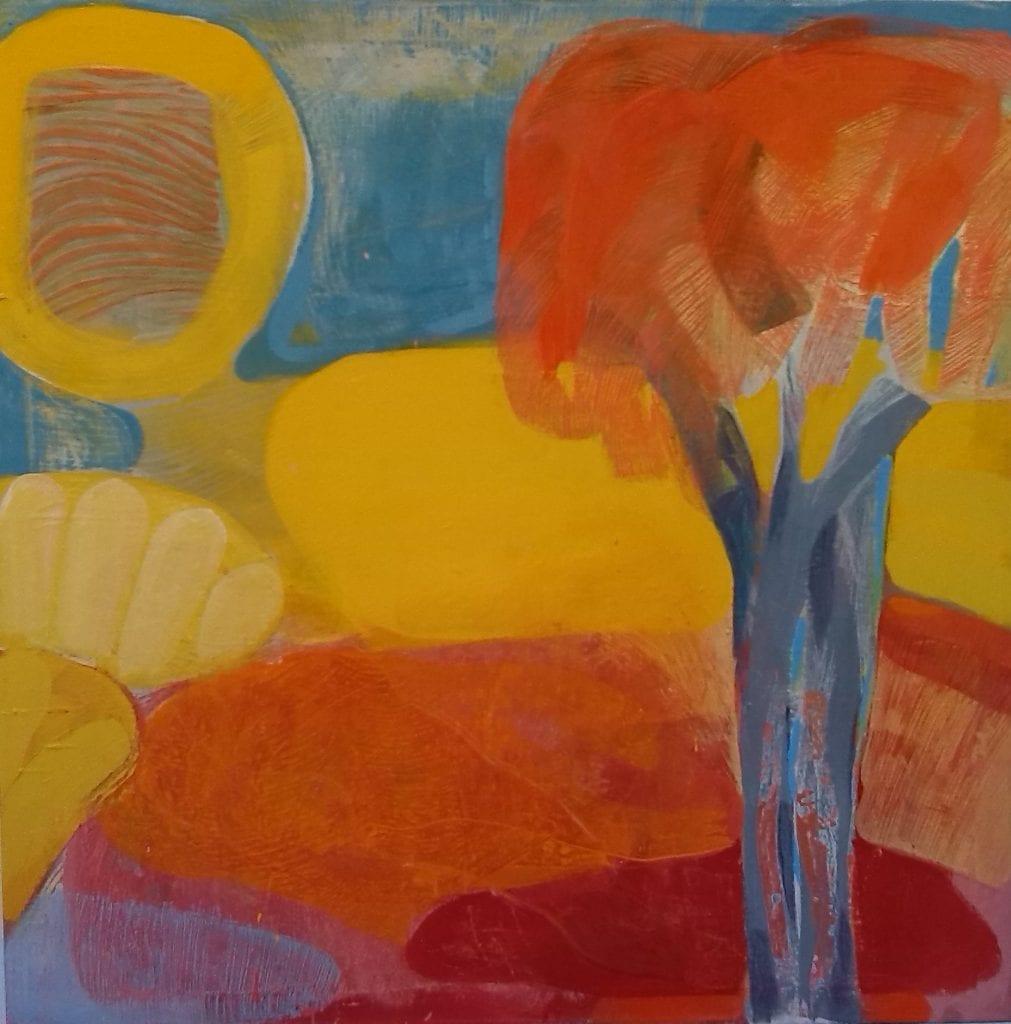 The first Garden II, 100x100 cm, egg tempera on canvas