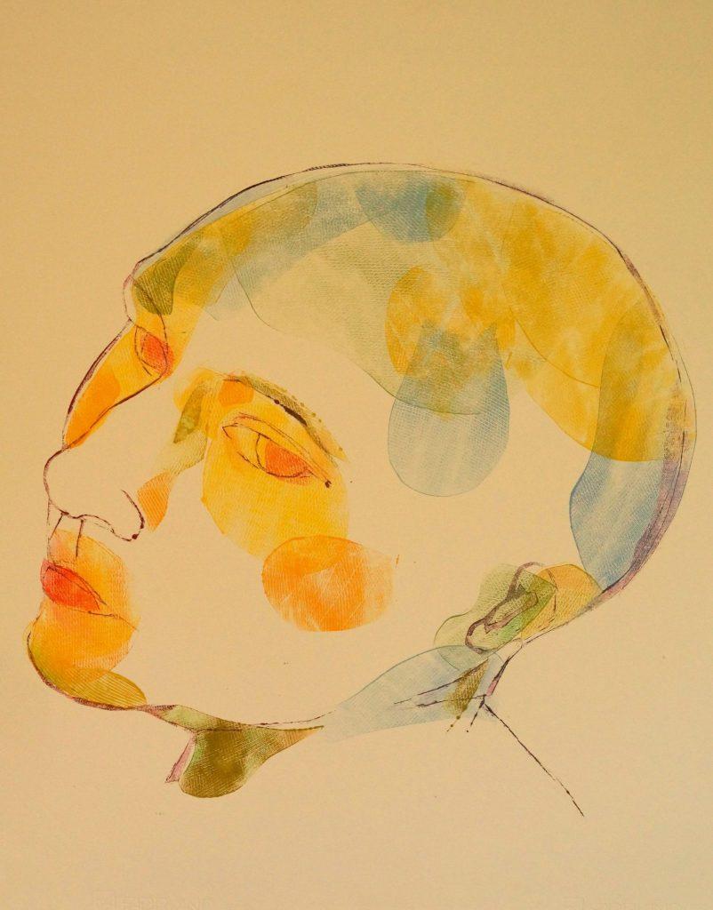 Woman, head Mono type 70x50 cm