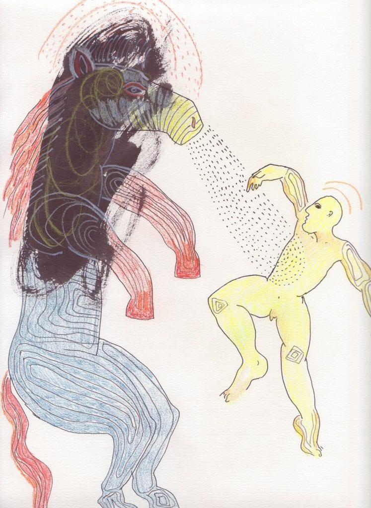 Animal Trainer, 30x20 cm pastel, tusch