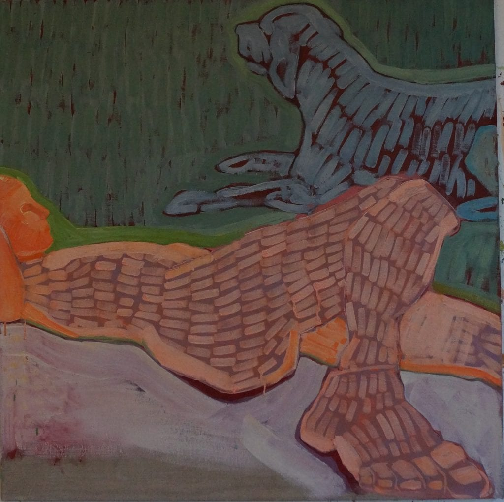 The sleeping Faun, 60x70 cm egg tempera on canvas
