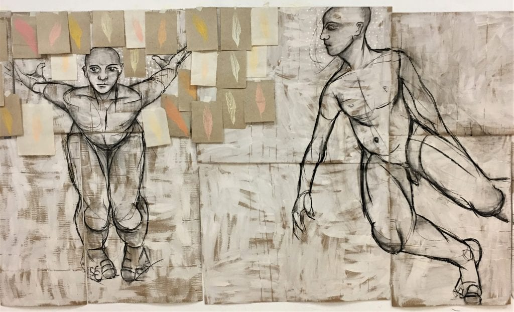Tectonic dance, charcoal on cardboard. about: 200x600 cm